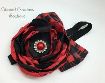 Plaid Red and Black Christmas Headband, Holiday headband, Christmas Bow, Hair clip, Girls Headband