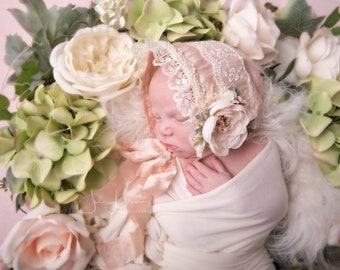 Blush Pink Newborn Bonnet, Newborn Prop, Newborn Hat, Newborn Lace bonnet, Newborn Photo prop, Newborn Photography