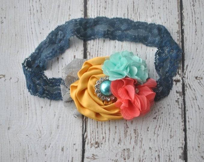 M2M Matilda Jane line, Baby Headband, Newborn Headband, Baby Girl Headband, Infant Headband, Coral, Turquoise, and Mustard headband