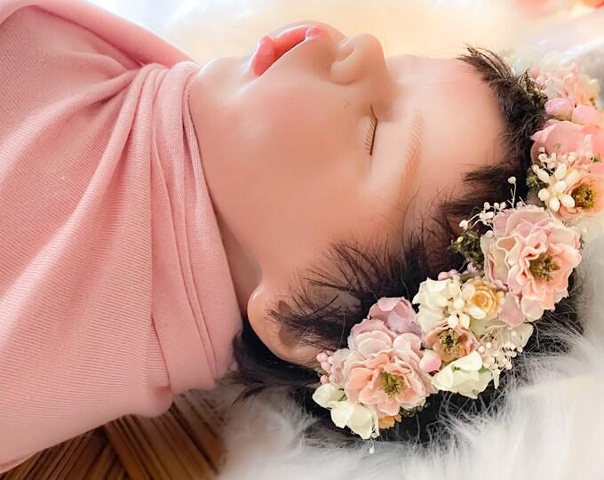 Blush Flower Crown, Newborn Flower Crown, baby flower crown, infant flower crown, blush pink, yellow and cream, Newborn tieback, Boho