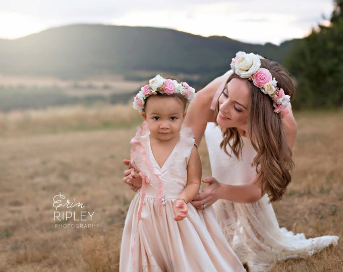 Mommy and Me Flower Crowns, flower headpeice, flower hair wreath, bridal Crown, bridal headpeice, flower girl headband, flower girl