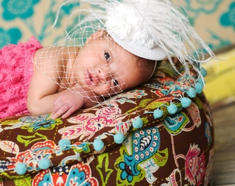 Baby Girl Hat - Girls Mini top Hat - Girls White Hat - Baby White Hat - White Wedding Hat - NewBorn Hat