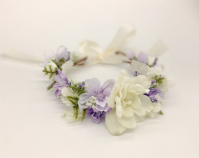 Lavender and Ivory flower crown, newborn flower crown, flower girl crown, flower girl flower crown, Birthday Crown, Maternity Crown, Bridal
