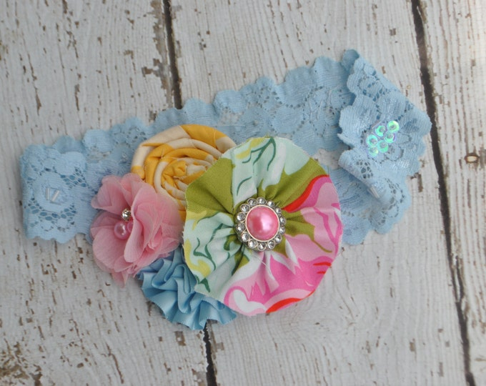 Pink Blue and Yellow flower headband, baby headband, girls headband, baby girl headband, wedding headband, pageant headband