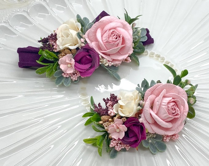 Baby Floral Crown First Birthday, Flower Crown, First Birthday Headband, Flower Girl Headband, Wedding Headband, baby floral crown,Hair Clip