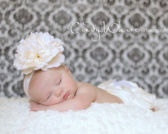 Newborn Headband, Weddings, Baptism,Christening, Flower Girls, Baby Headband,Ivory Lace Flower Headband, ivory headband