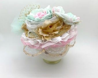 Girls Birthday Hat - Tea party Hat - Baby Hat - Pink Mint and Gold Hat - Easter Hat - 1st Birthday Hat