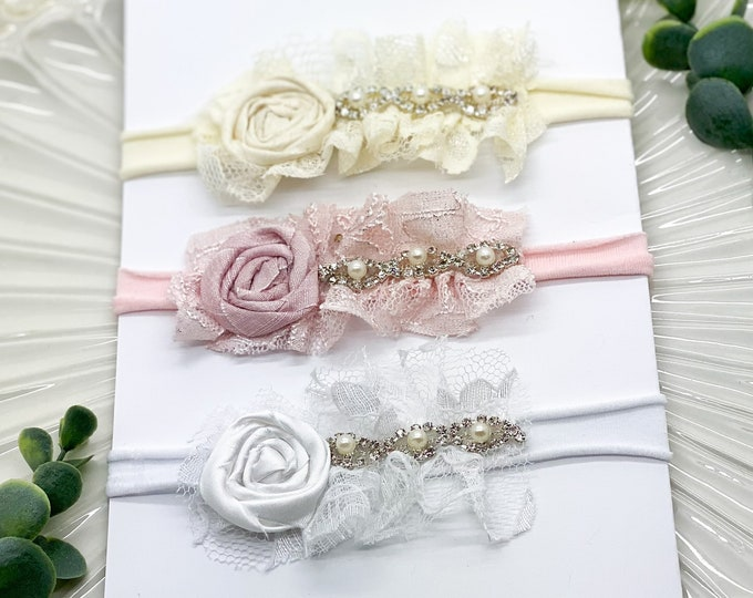 Newborn Headband Set, Baby Headbands, Rhinestone Headbands, Flower Girl Headband, Wedding Headband, Baby Girl Headbands