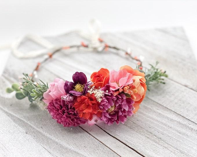 Tropical Flower Crown, Flower Girl Crown, Wedding Headpiece, Wedding Flower Crown, Maternity Flower crown, Wedding Crown