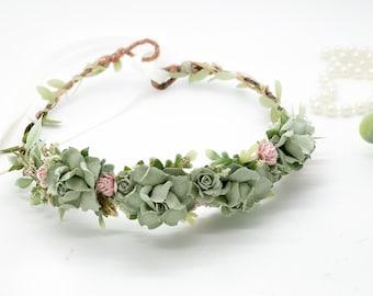 Organic Flower Crown , Sage Flower Girl Crown, Flower Crown, Halo Flower Crown, Bridal Crown, Maternity Crown, Wedding Crown, Boho Wedding