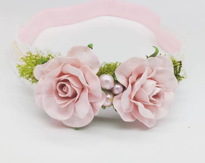 Light pink blush flower headband, girls headband, baby headband, newborn headband, flower crown, dusty pink, blush pink, lifht pink headband