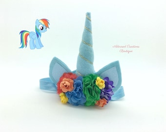 Rainbow Dash unicorn inspired headband, unicorn headband, girls headband, rainbow unicorn, unicorn party, unicorn birthday