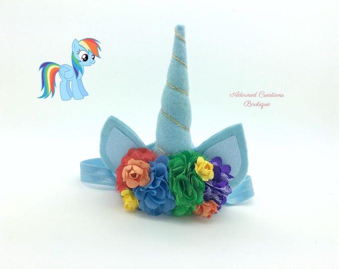 Rainbow Dash unicorn inspired headband, unicorn headband, girls headband, rainbow unicorn, unicorn party, unicorn birthday