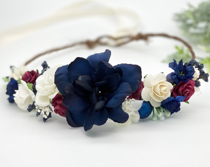Red Cream and Blue Flower Crown , Flower Girl Crown, Patriotic Flower Crown, Halo Flower Crown, Bridal Crown, Maternity Crown, Wedding Crown
