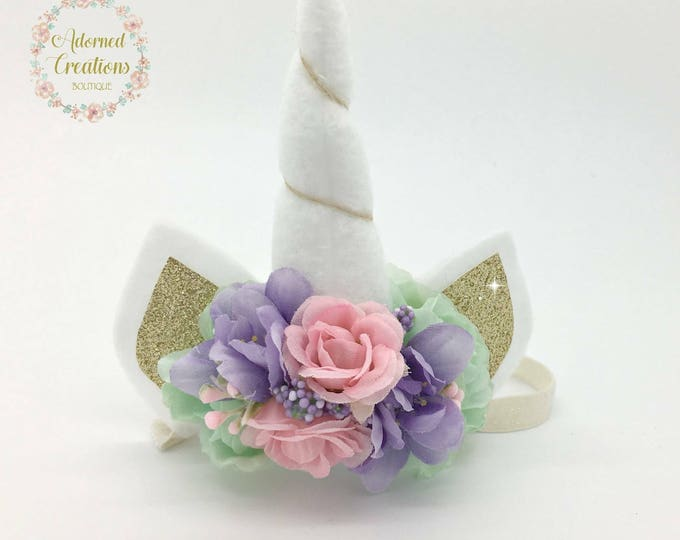 Unicorn headband, Unicorn Birthday headband, Unicorn horn, Headband, Girls unicorn birthday, Newborn unicorn headband, Unicorn photo prop