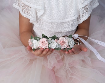 Flower Crown - Pink, Ivory, Blush pink and white Flower Crown - Newborn Crown -  Flower Girl Flower Crown -  Maternity Flower Crown