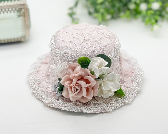 Blush Pink Vintage Mini Top Hat for Newborn to Adult, Baby flower Crown Hat, Baby hats, girls hats, Easter hats,Tea Part Hats,Cake Smash Hat