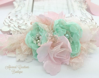 Mint and Peachy Pink Maternity Sash, Bridal Sash