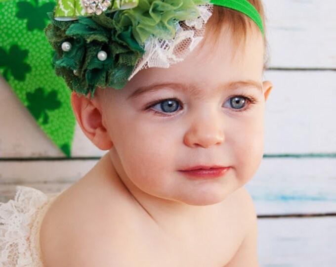 St Patrick's Day Headband - Baby Headband -Girls Headband - Girls Green Headband
