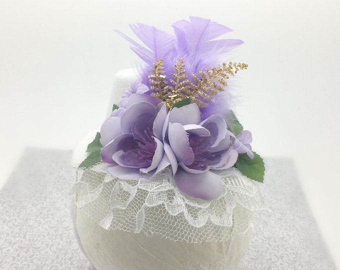 Lavender and Gold Mini Top Hat, Kentucky Derby Mini Hat, Birthday Hat,Baby Mini Top Hat, Adult Mini top Hat