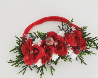 Christmas Baby Headband, Red flower Headband, Christmas newborn Headband, Newborn Photo prop