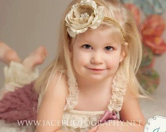 Vintage Beige and Gold Flower Headband, Baby Headband, Girls Headband, Adult Headband