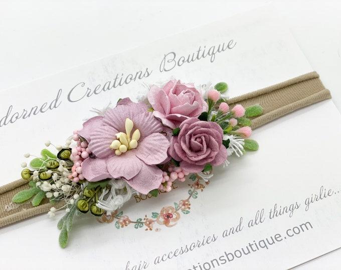 Mauve and Pale Purple newborn Headband, Vintage Style Headband, flower girl headpiece, Flower Girl Headband, Wedding Headband,Hair Clip, WDW