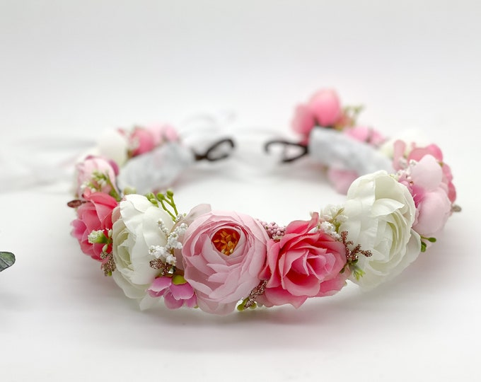 Pink and White Flower Crown , Flower Girl Crown, Flower Crown, Halo Flower Crown, Bridal Crown, Maternity Crown
