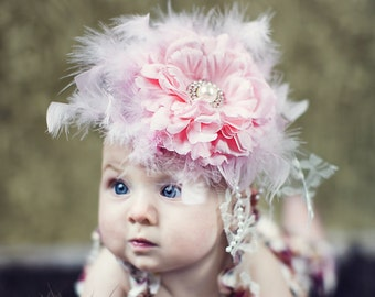 Pink Flower Headband - Baby Flower Headband - Newborn Flower Headband - Baby Feather Headband