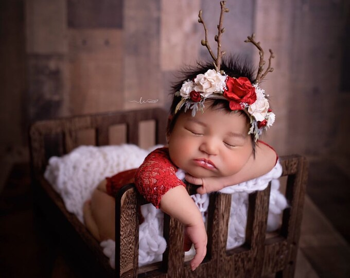 Reindeer Headband, Deer Headband, Fawn headband, Deer Antler Flower Crown, Newborn Flower Crown, Flower Crown, Red and Cream, Photo Prop