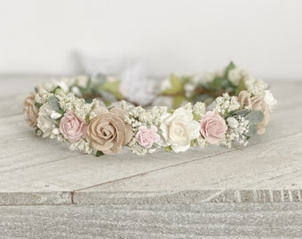 Blush Flower Crown , Flower Girl Crown, Flower Crown, Halo Flower Crown, Bridal Crown, Maternity Crown, Wedding Crown, Boho Wedding