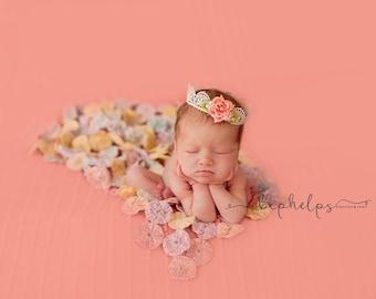 Newborn Lace Coral Flower Crown, Newborn Crown, baby crown, baby lace crown, princess crown, vintage crown