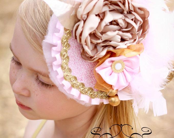 Girls Tea Hat, Girls Birthday Hat, Girls Derby Hat, Pink and Gold Hat