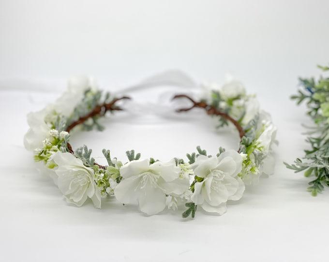 White Cherry Blossom Flower Crown - Floral Crown - Flower Girl Crown, Bridal Crown - First Communion