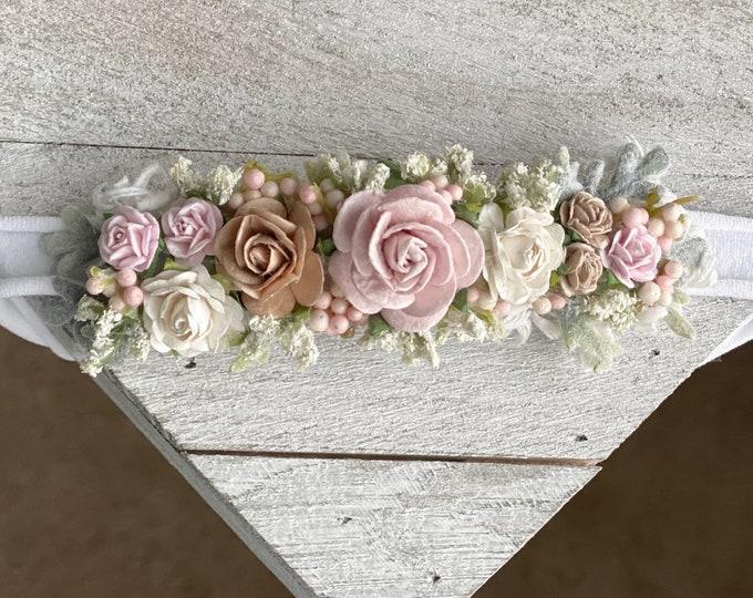 Blush Ivory Taupe Flower Headband, Newborn Flower Crown, Newborn Headband, Blush Ivory baby headband, Flower girl headband, Flower Crown