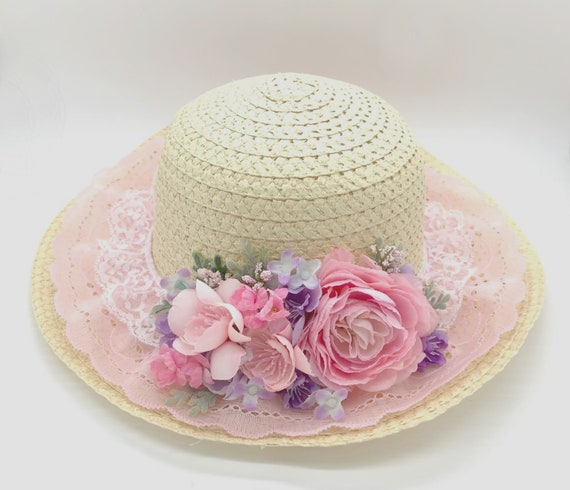 Easter Bonnet Hat With Flowers Assorted Colours Ladies Fancy Dress Accessories