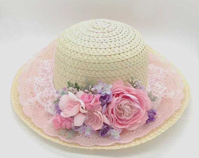 Easter Bonnet, Girls easter bonnet, Girls pink and purple bonnet, Girls eater hat, Girls tea hat, girls wedding hat, tea party hat