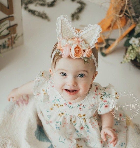 Baby/'s First Easter Headband White Bunny Stretch  Headband Newborn Headband Soft White Bunny Headband Bunny Headband
