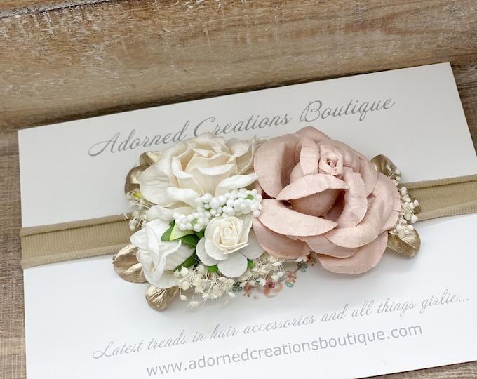 Blush and Gold newborn Headband,  flower crown, flower girl headpiece, Flower Girl Headband, Wedding Headband, Baptism, Christening