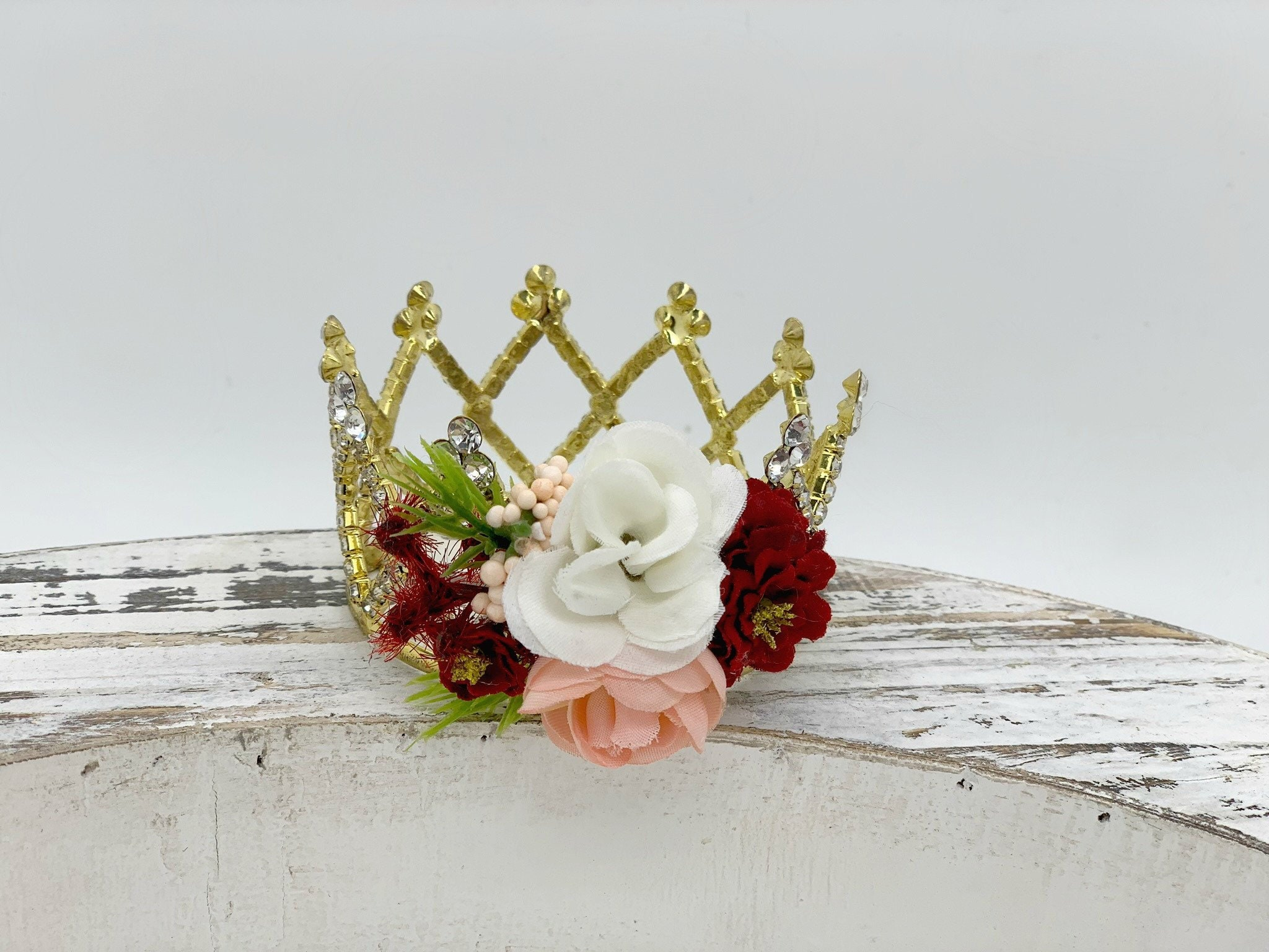0437e9b1 Blush and Burgundy Newborn Flower Crown, Princess Crown ...