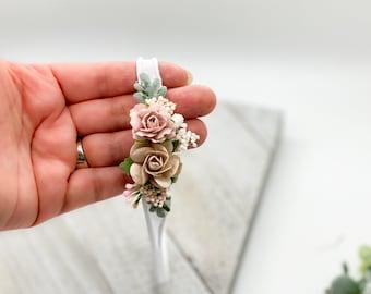 Petite blush pink and taupe  Baby Headband, Newborn Headband, Dainty Headband, Baby Girls Headband, Newborn Flower Crown,blush baby headband