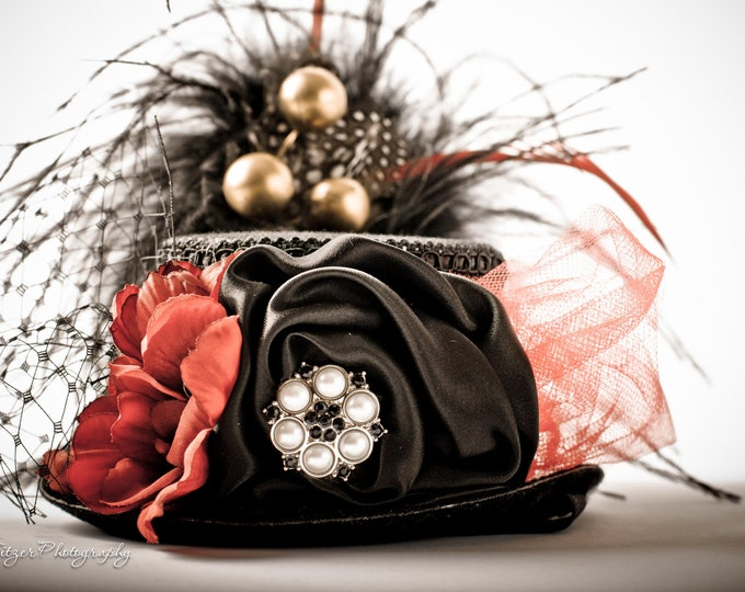MAD HATTTER- Costume-Circus-Alice in Wonderland- Black and Red Mini Top Hat Photography Prop