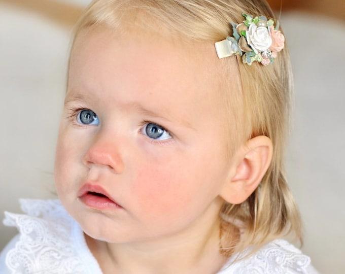 Floral Hair clips, Wedding hair clips, Flower girl hair clips, Little Girl hair clips, Blush hair clips