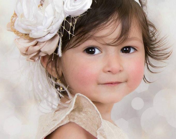 SALE! White Ivory Gold Baby Headband, Newborn Headband, Christening Headband, Baptism Headband, Photography Props, Flowergirl Headband