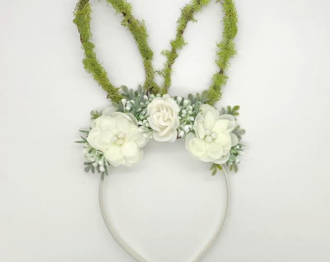 White Neutral Colors Bunny ears Headband,Baby Bunny ears headband,Girls bunny ears headband,white bunny ears headband, Easter Bunny headband