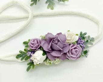 Lavender Floral Headband, Baby Flower Crown, Baby flower Headband, Flowergirl Headband, Bridal Headband