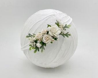 Ivory Flower Headband, Ivory Flower Crown,Newborn Flower Crown, Baptism Headband,Flower girl headband,Bridal Crown,Bridal Hair Clip