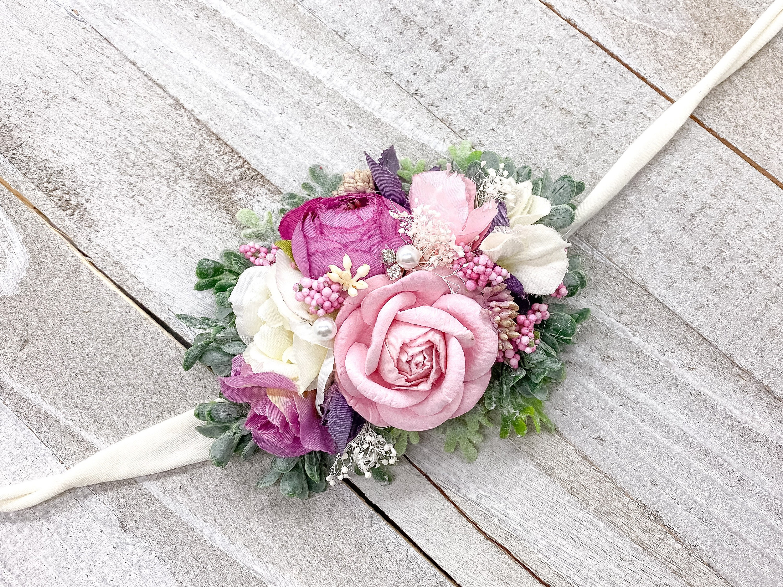 Purple and Pink Flowers Infant Headband