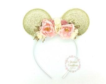 Pink and Gold Mouse Ears headband - Mouse Headband - Flower Crown - Birthday Headband - Theme Park Headband