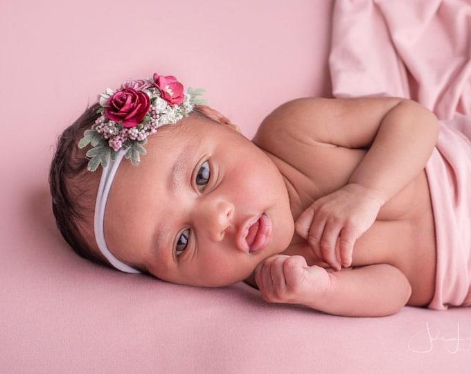 Burgundy vintage pink Baby Headband, Newborn Headband, Nylon Headband, Baby Girls Headband, Newborn Flower Crown, Pink baby headband